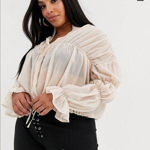 Sheer long sleeve crop blouse